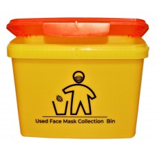 "JETR 16 Litre Yellow Rectangular Bucket printed ""Mask Disposal"" with Orange Hinged Lid"