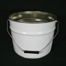 12 litre White Lacquered Tapered Tinplate Pail