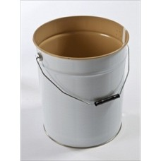 20 litre White Lacquered Tapered Tinplate Pail