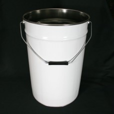23 litre White Tapered Tinplate Pail