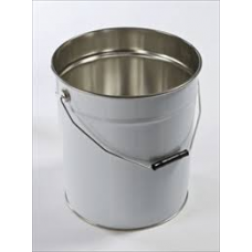 5 litre White Plain Tapered Tinplate Pail